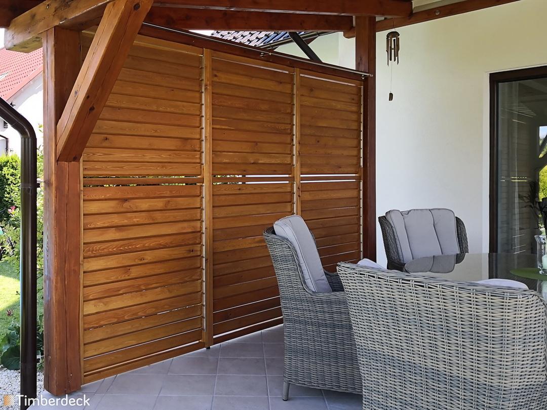 shuttersy na taras z drewna